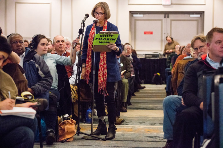 Diane Turco, the director of Cape Downwinders, which is opposed to the Pilgrim nuclear plant, speaking at a public hearing on Tuesday. Credit M. Scott Brauer for The New York Times