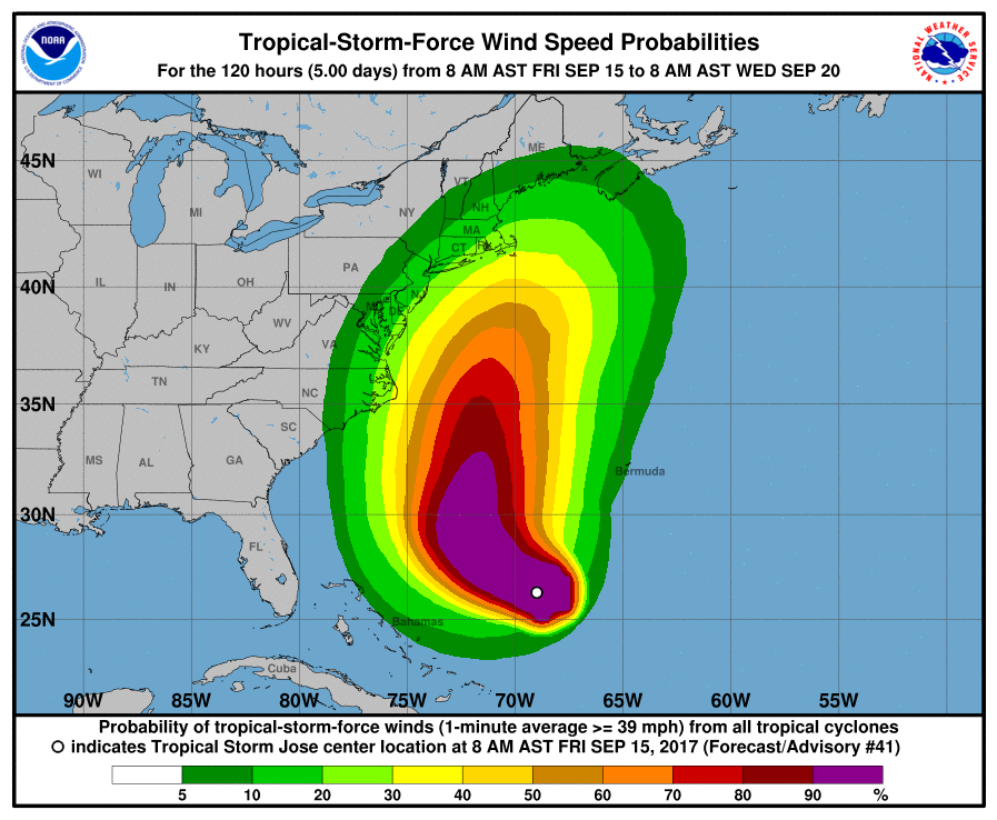 Current predicted probability of tropical-storm-force winds from Tropical Storm Jose.