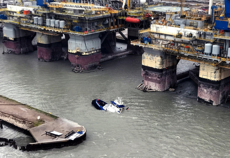 A vessel, the Signet Enterprise, sinking on Saturday near Port Aransas, Tex.; its crew was rescued. The narrow shipping channel near Port Aransas may be the most threatened choke point on the Gulf Coast. Credit U.S. Coast Guard, via Getty Images