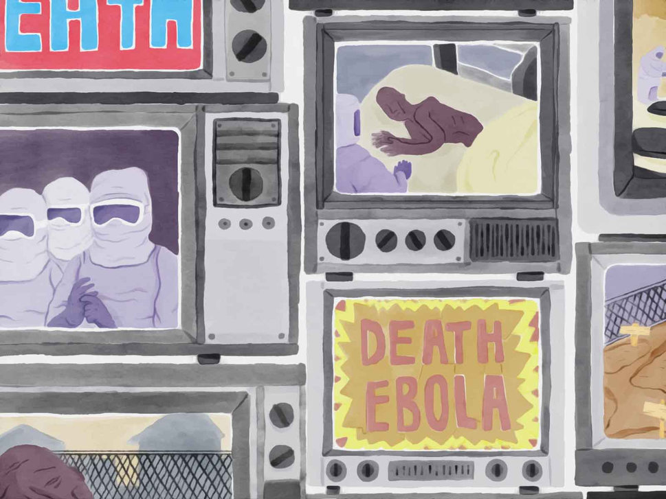 Illustration of screens showing patients in a ward for Ebola patients. JI SUB JEONG/HUFFPOST
