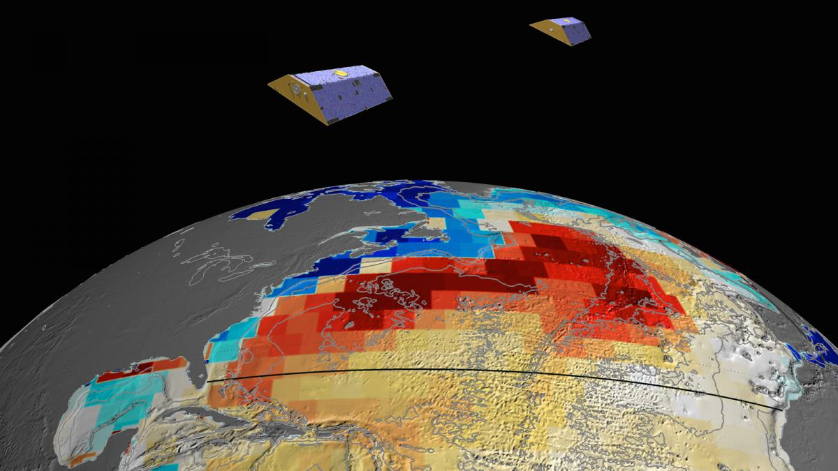 NASA's GRACE satellites (artist's concept) measured Atlantic Ocean bottom pressure as an indicator of deep ocean current speed. In 2009, this pattern of above-average (blue) and below-average (red) seafloor pressure revealed a temporary slowing of the deep currents. Image credit: NASA/JPL-Caltech