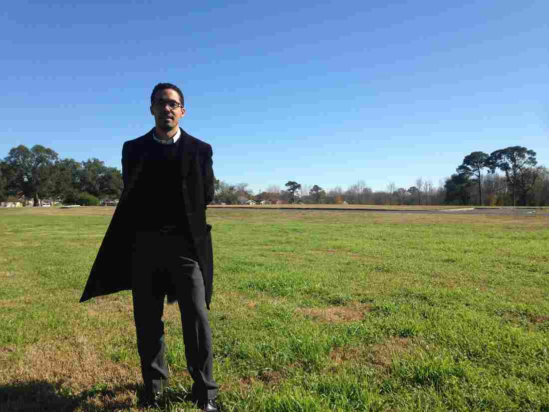 Jeff Hebert, who is leading New Orleans' efforts to adapt to rising sea levels, stands at the site of the future Mirabeau Water Garden, a federally funded project designed to absorb water in residential Gentilly. Tegan Wendland/WWNO