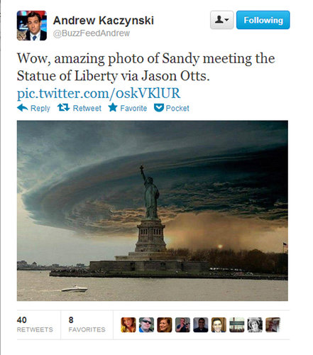 A startling but manufactured image of the giant storm that made the rounds on Twitter and Facebook.